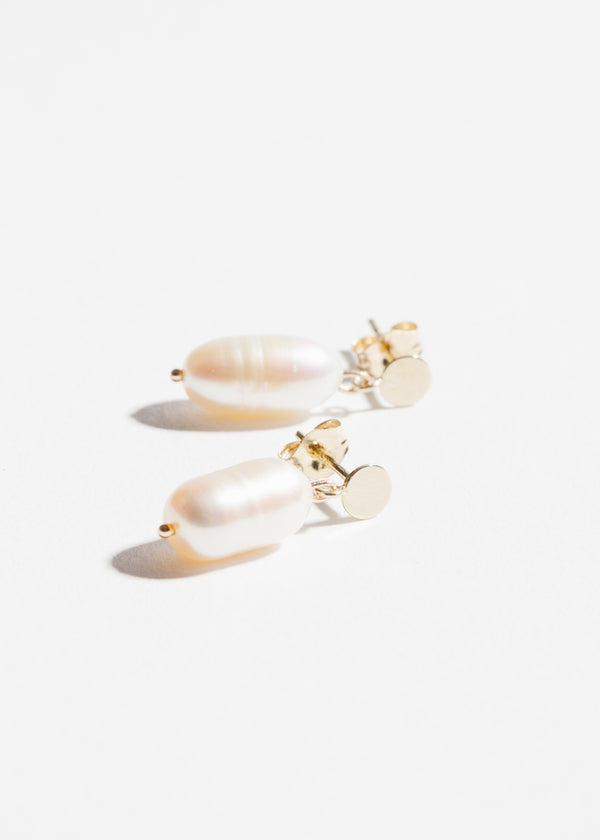 14k Gold Pearl Disk Drop Earrings