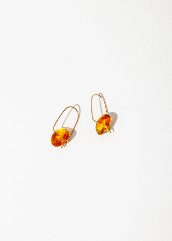 Stone Mobile Earrings in Red Amber