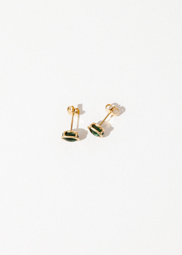 14K Floating Studs in Green Tourmaline