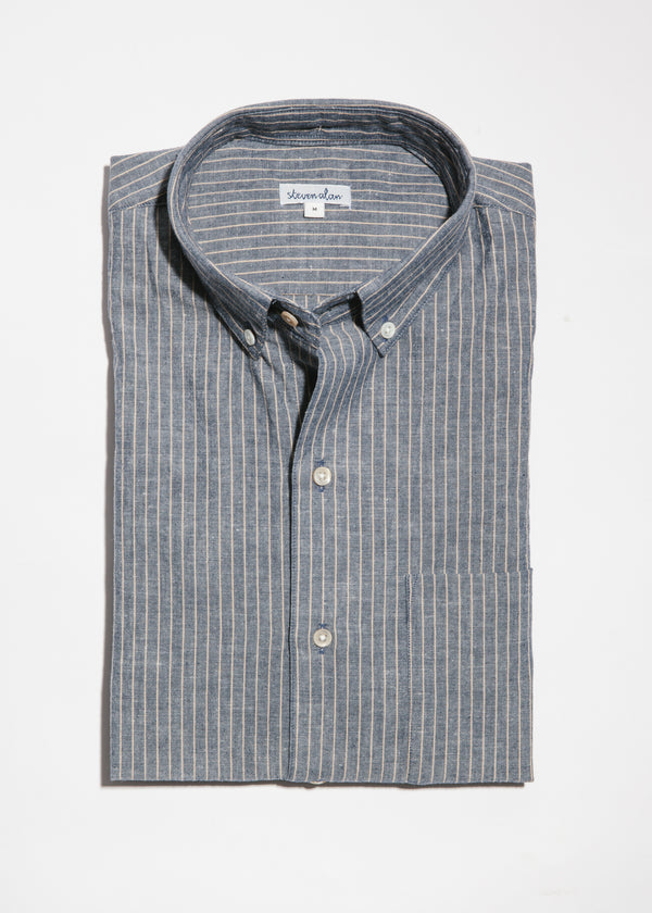 Single Needle Shirt in Indigo Linen Stripe