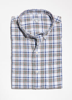 Single Needle Shirt in Earth Check Linen