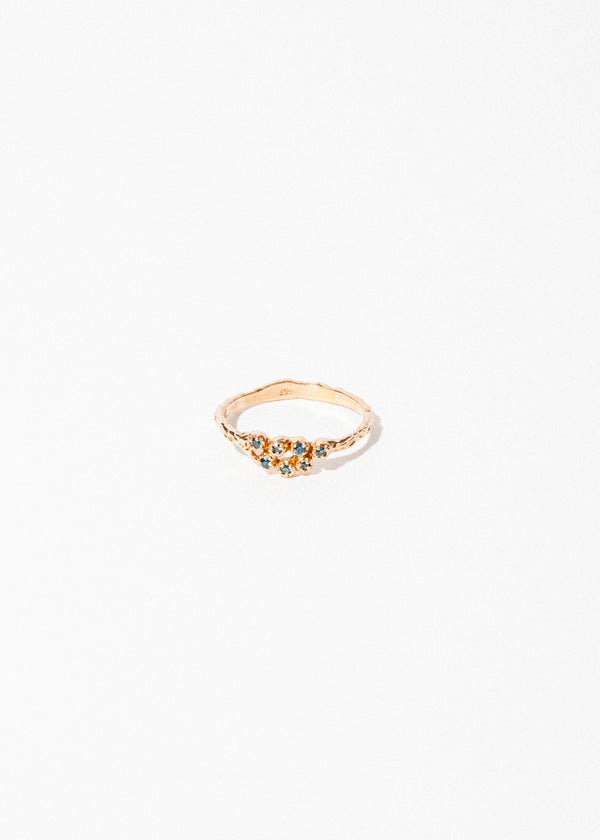 7 Blue Diamond Cluster Ring in Rose Gold