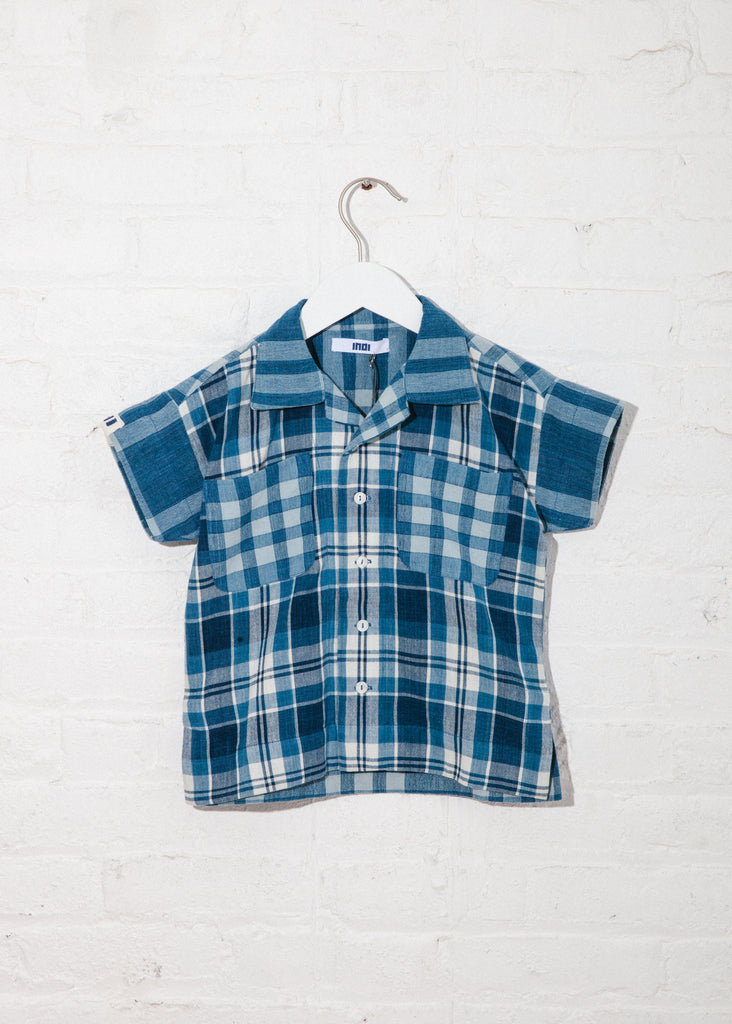 Kid's Mak Camp Shirt in White Ground Plaid