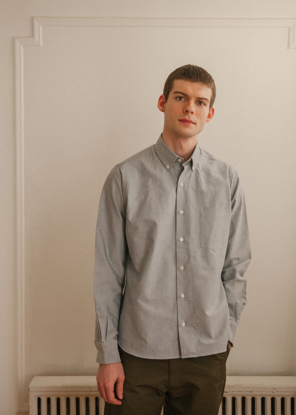 Single Needle Shirt, Pebble Grey Oxford