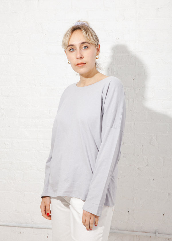 Building Block Relaxed Long Sleeve Top in Cloud