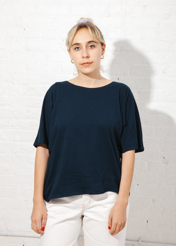 Building Block Loose Fit Tee in Navy