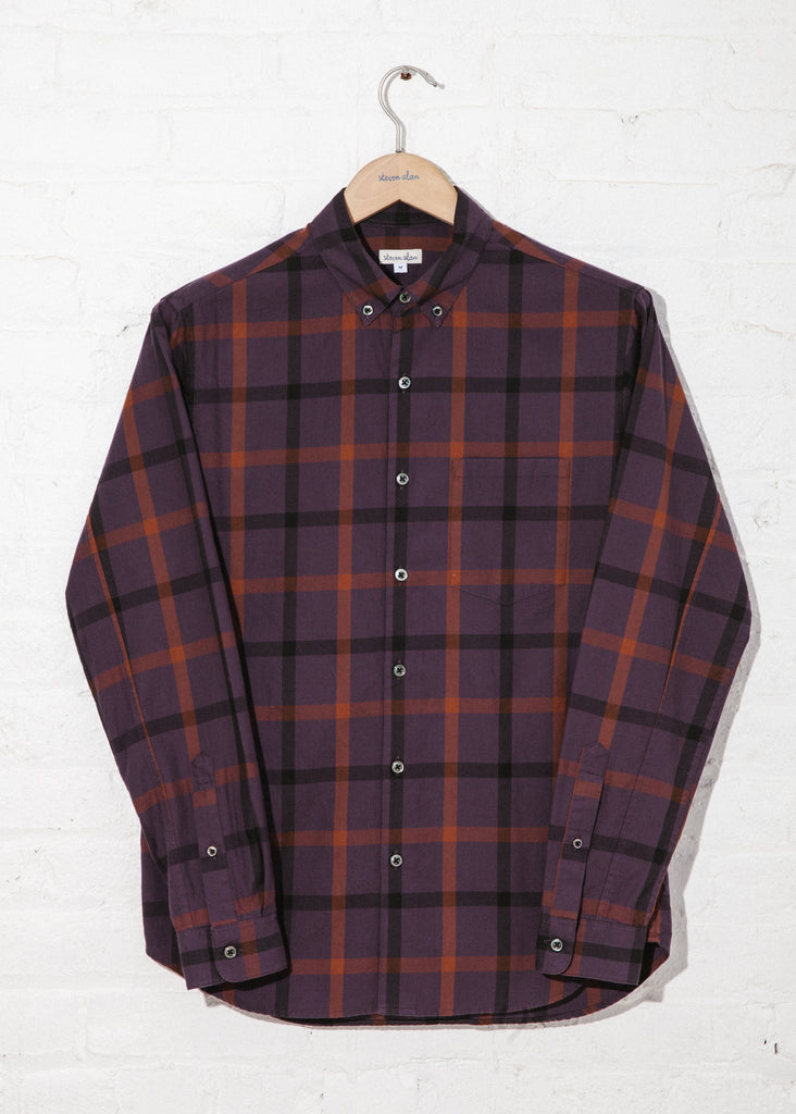 Twill Check Single Needle Shirt in Purple