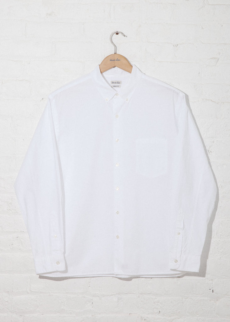 Typewriter Single Needle Shirt in White