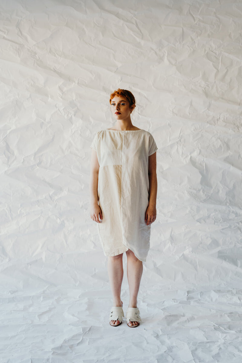 Tulip Block Dress- Parchment