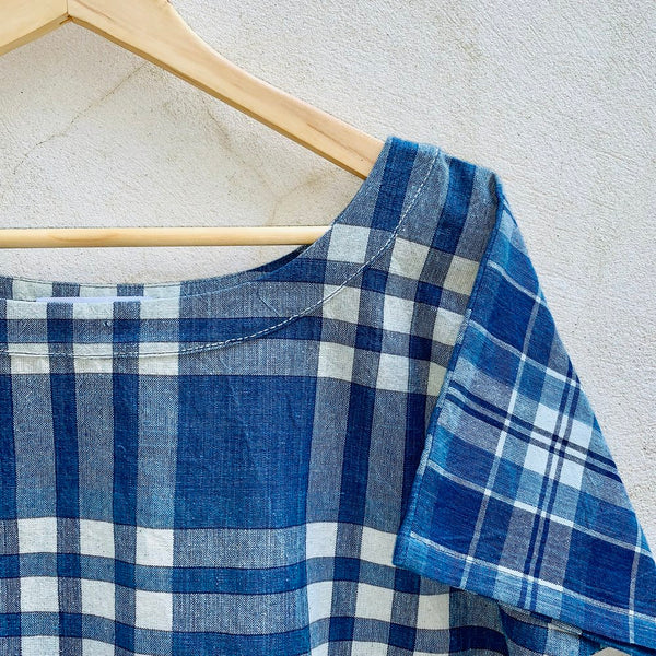 Nova Tee / Handwoven Indigo Mixed Plaids