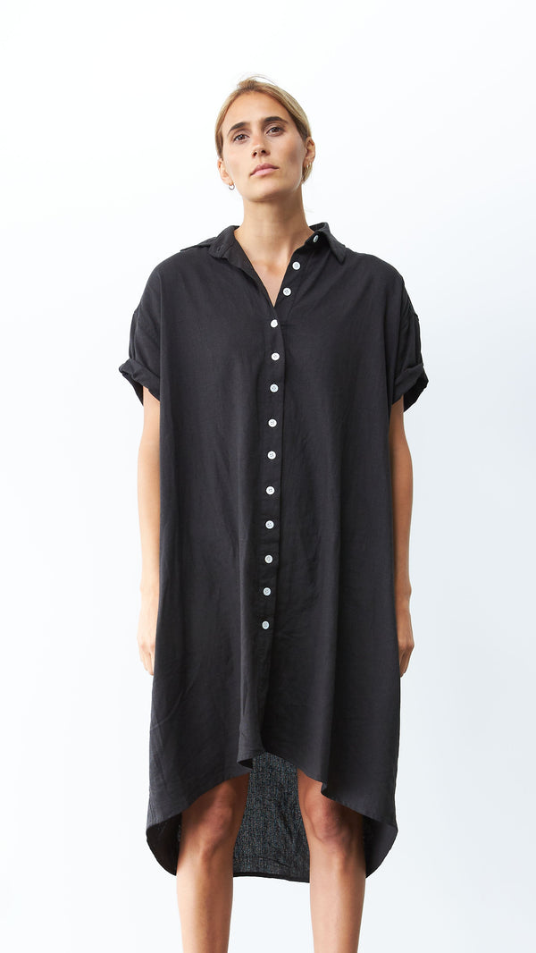 Rhodes Dress, Black Linen