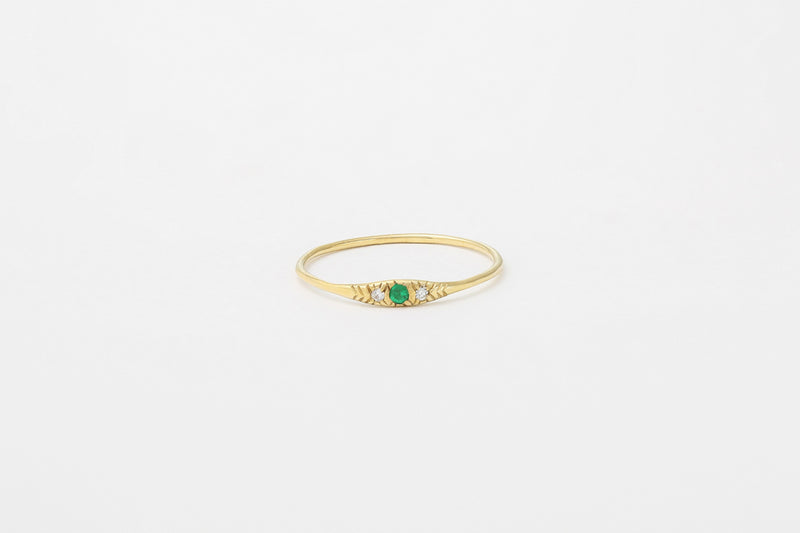 14k Emerald Ovate I Ring