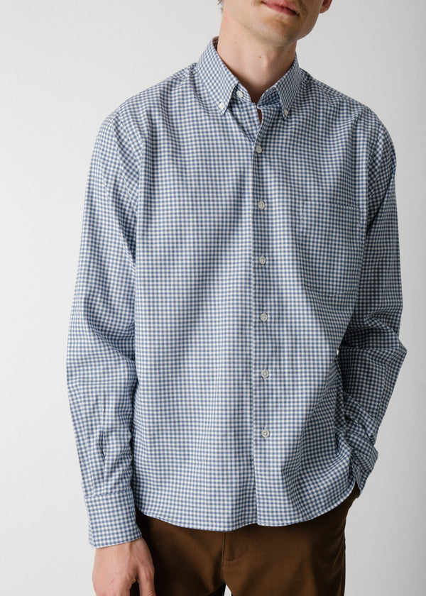 Single Needle Shirt, Blue Gingham