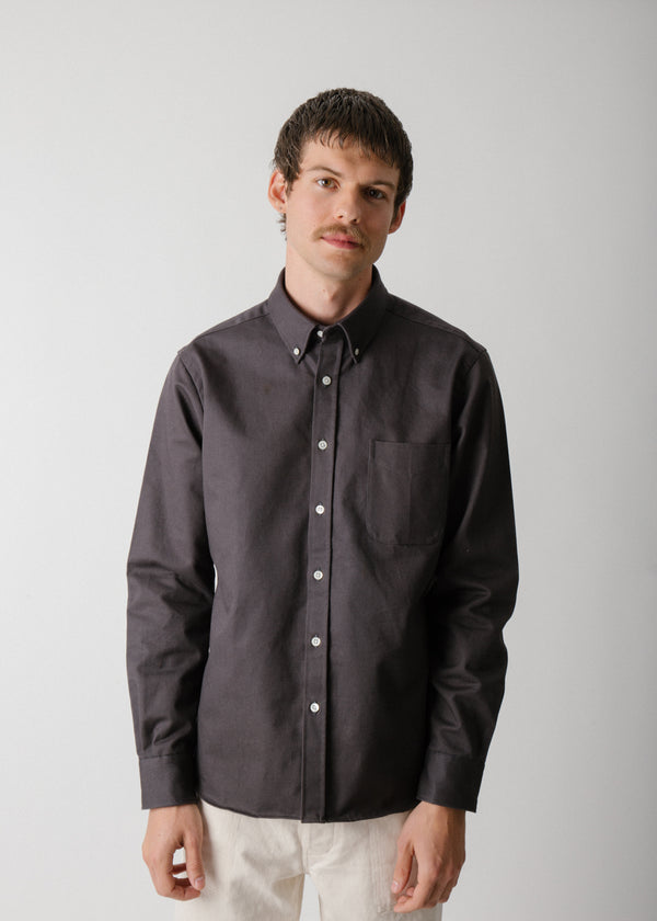 Classic Collegiate Shirt, Slate Extra Heavy Oxford
