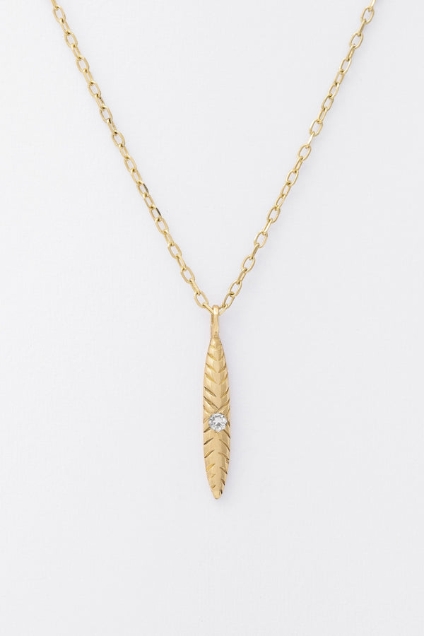 14k Single Diamond Ovate Necklace