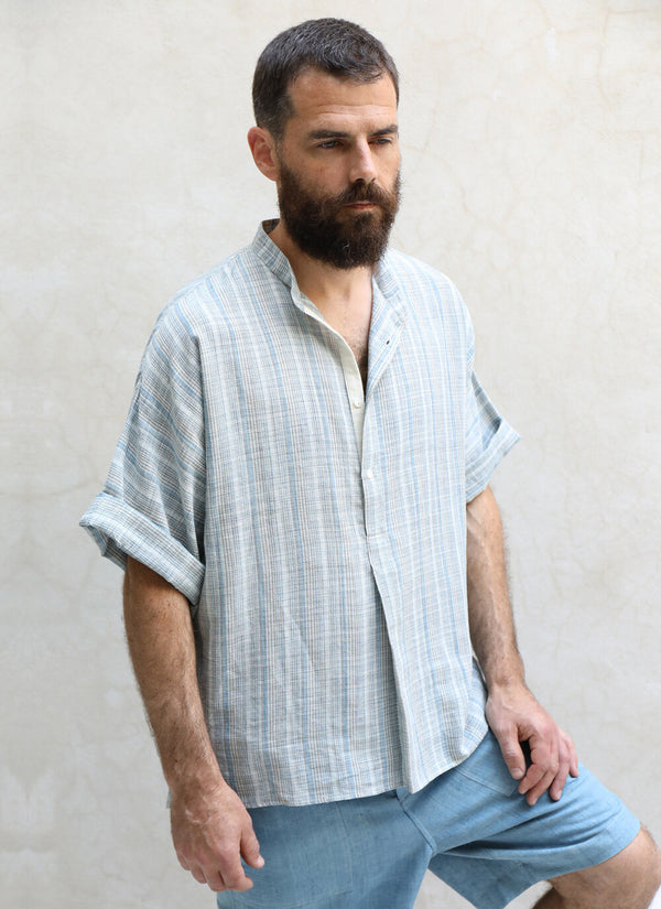 Short Sleeve Band Collar Shirt / Handwoven Remnant Plaid