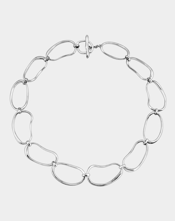 Hand Formed Oval Link Collar Necklace | Sterling Silver