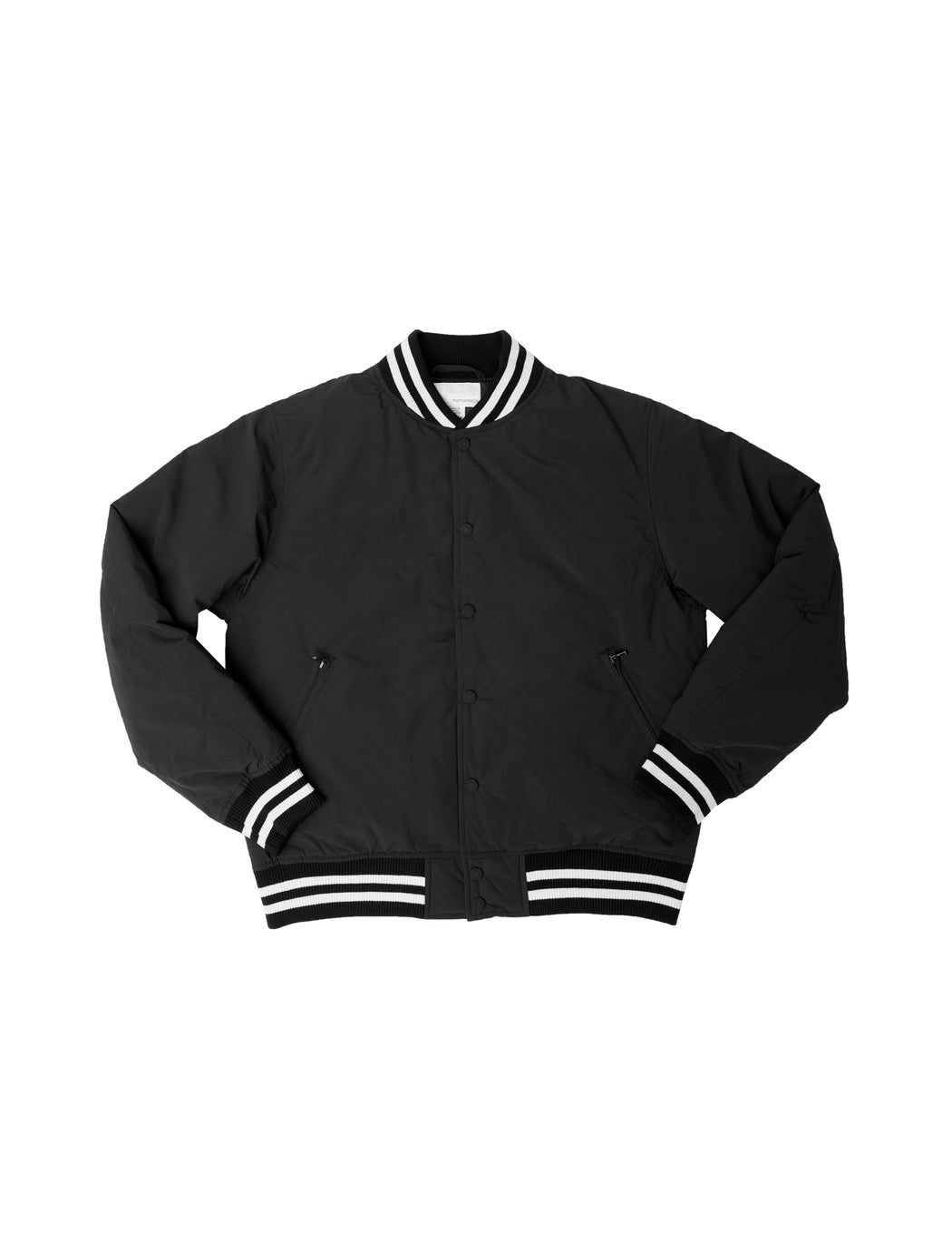 Down Varsity Jacket in Black