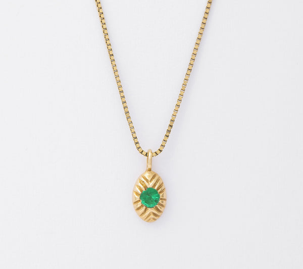 14k Emerald Seedling Necklace