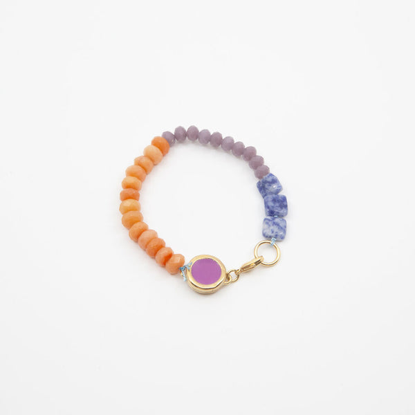 Beaded Bracelet in Purple/Orange