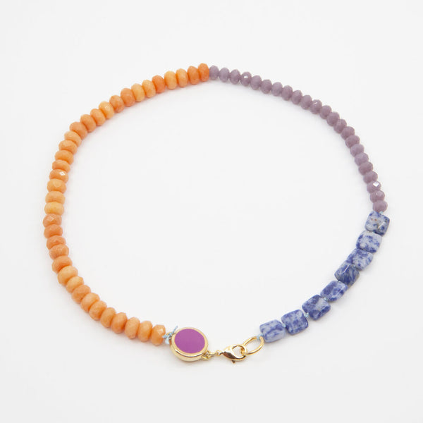 Beaded Necklace in Purple/Orange