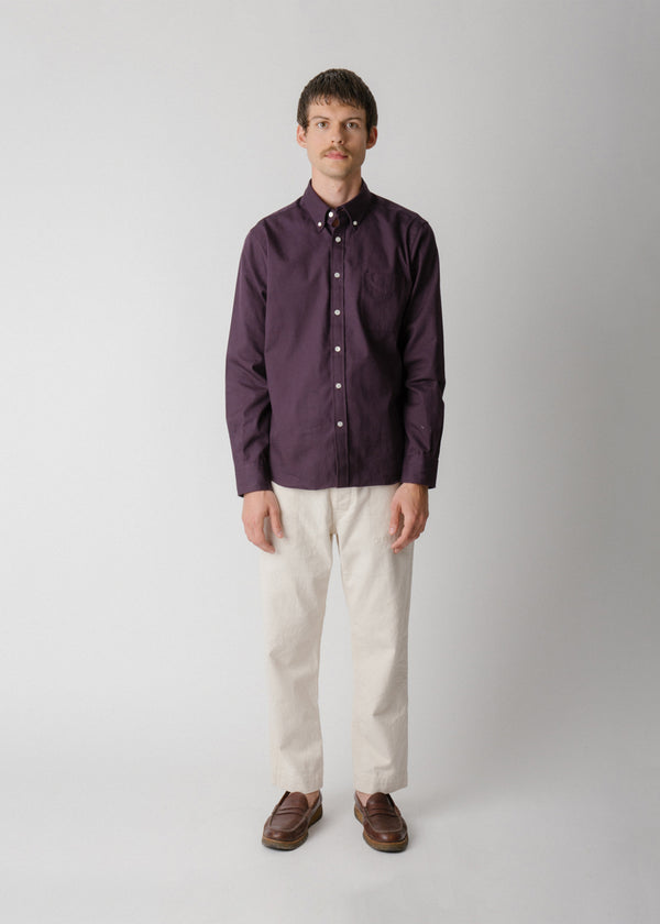 Classic Collegiate Shirt, Eggplant Oxford