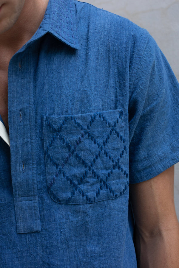 SS CEDAR SHIRT indigo kala cotton