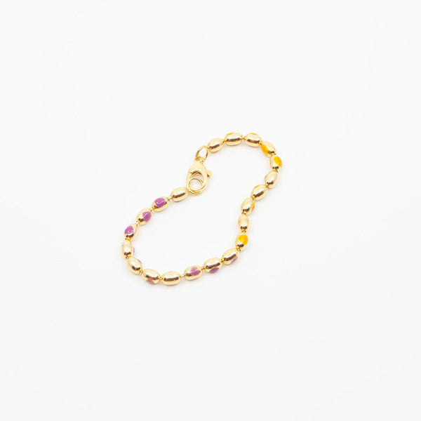 Painted Ball Chain Bracelet in Orange/Purple