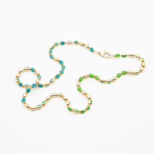 Painted Ball Chain Necklace in Blue/Green