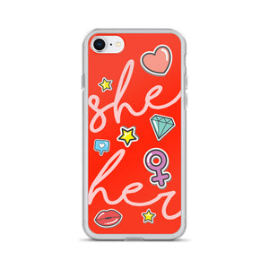 She/Her Pronouns Orange iPhone Case