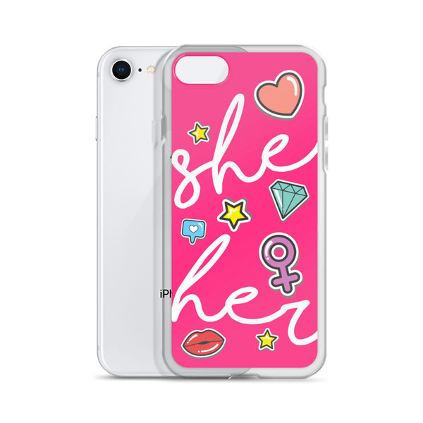 She/Her Pronouns Pink iPhone Case