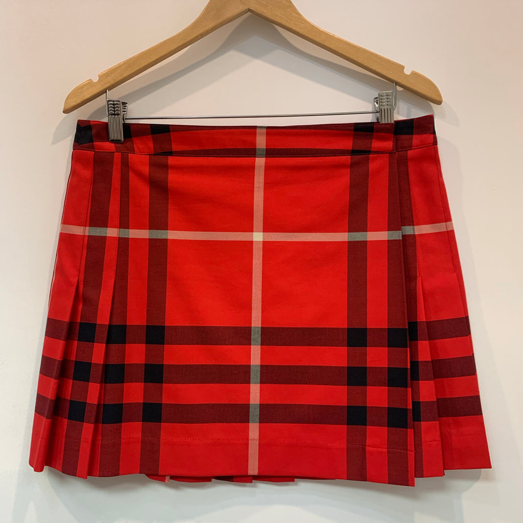 Red Plaid Burberry Pleated Skirt