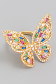 Real Gold Plated Multi Color Crystal Adjustable Butterfly Ring