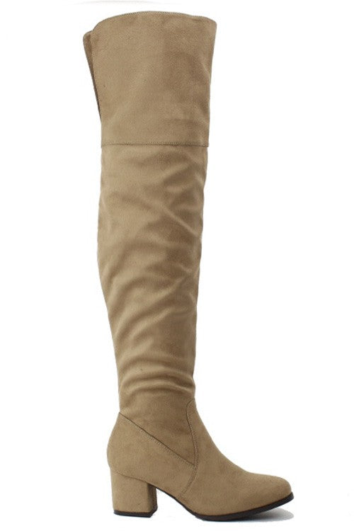 Over The Knee Boots - Natural Taupe