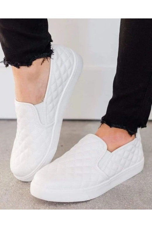 White Quilted Comfort Slip-On Sneakers