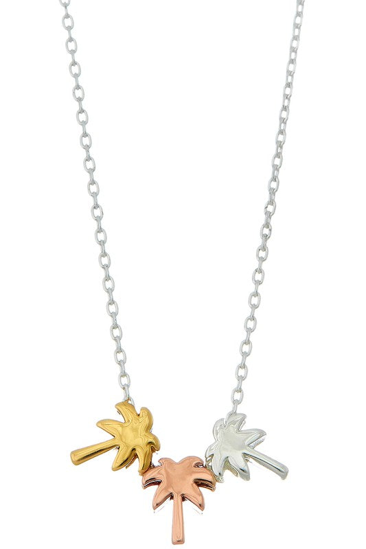 20K Gold Dipped Handmade Tricolor Palm Tree Necklace