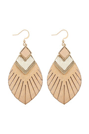 Peach Fringe Genuine Leather Feather Earrings