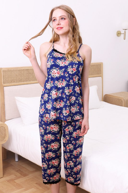 Navy Floral Lace Detailed Top and Pants Pajama Set
