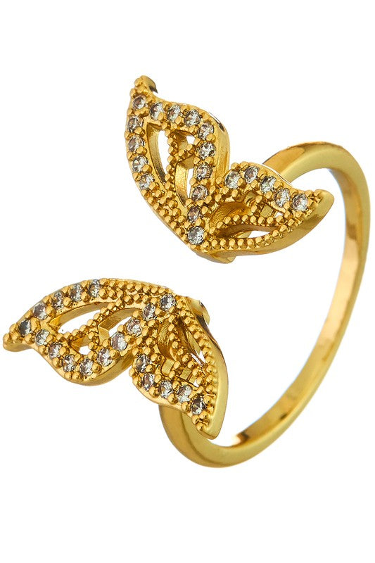 Gold Butterfly Crystal Quartz Open Ring