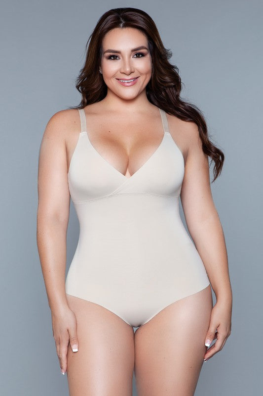 Nude Seamless Bodysuit Body Shaper | Adjustable Straps
