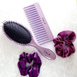 4-Piece Purple Hair Essentials Set - Brush, Wide-Toothed Comb, 2 Scrunchies