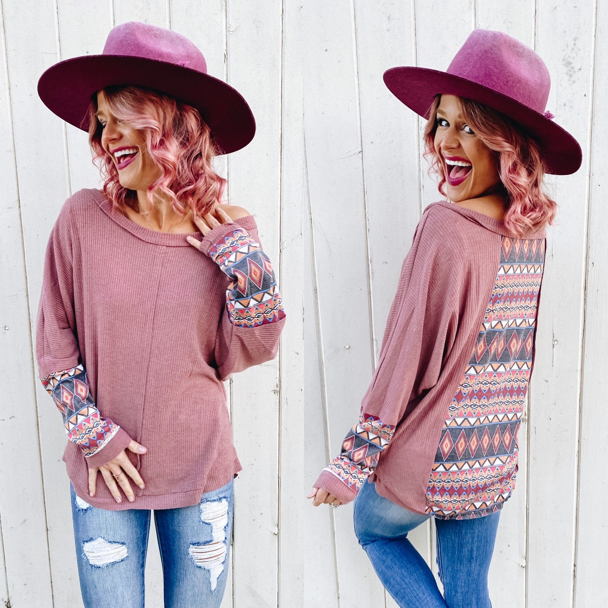 Marsala Mixed Aztec Accent Long Sleeve Top