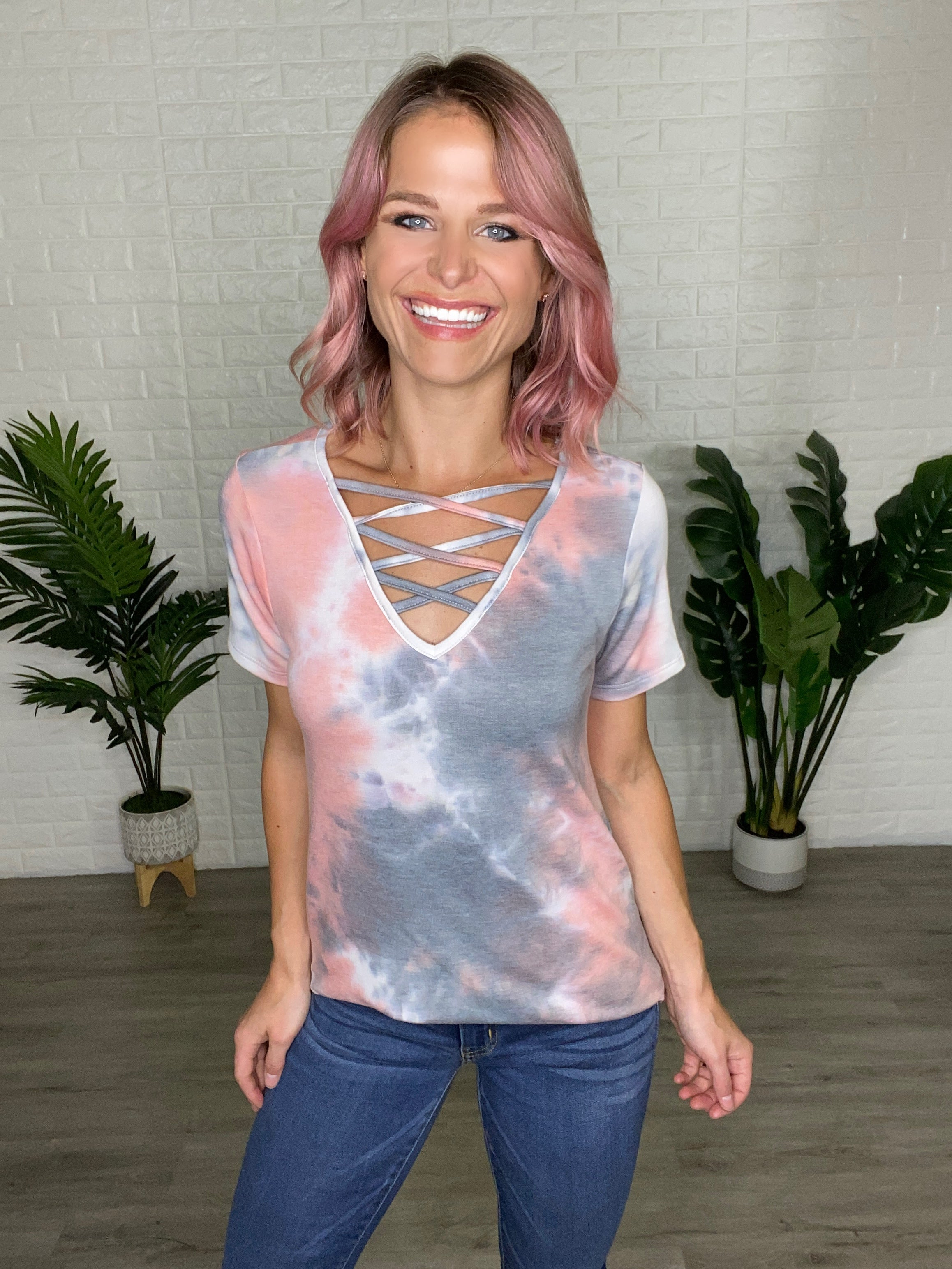 Pink Tie Dye Strappy Top