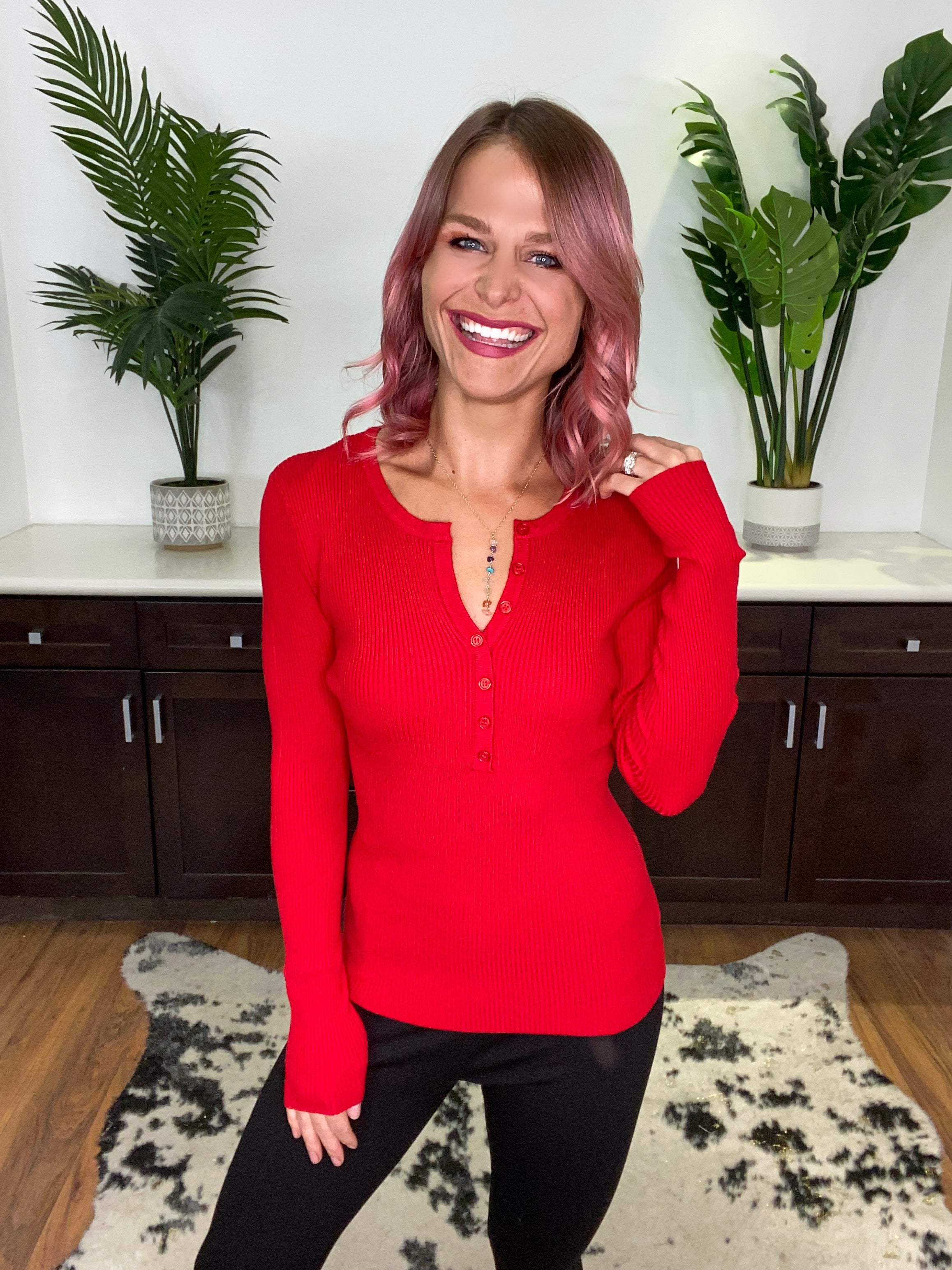 Red Soft Ribbed Henley Sweater