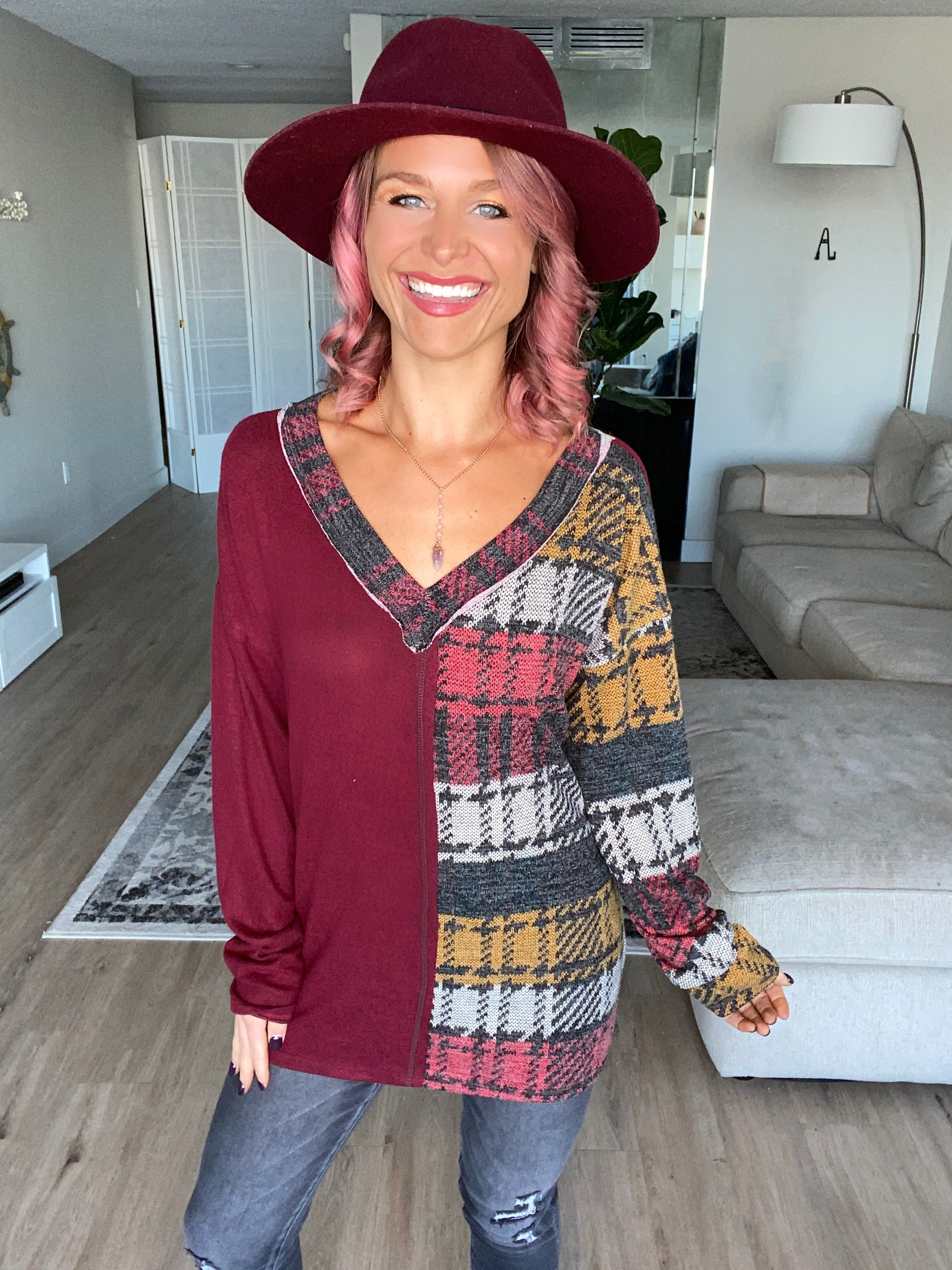 Wine Plaid Color Block Super Soft Top