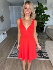 Coral Fit & Flare Sleeveless Dress
