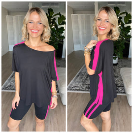 Black/Fuchsia Varsity Striped Top and Shorts Activewear / Loungewear Set