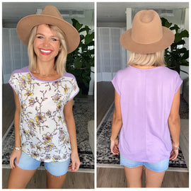 Lilac Floral Contrast Short Sleeve Top
