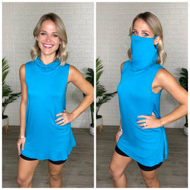 Blue Jade Sleeveless Top w/ Facial Covering
