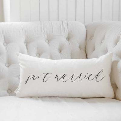 Just Married Lumbar Pillow Cover
